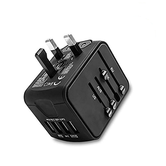Black universal travel adapter with 4 Usb ports- Covers more than 160 countries worldwide