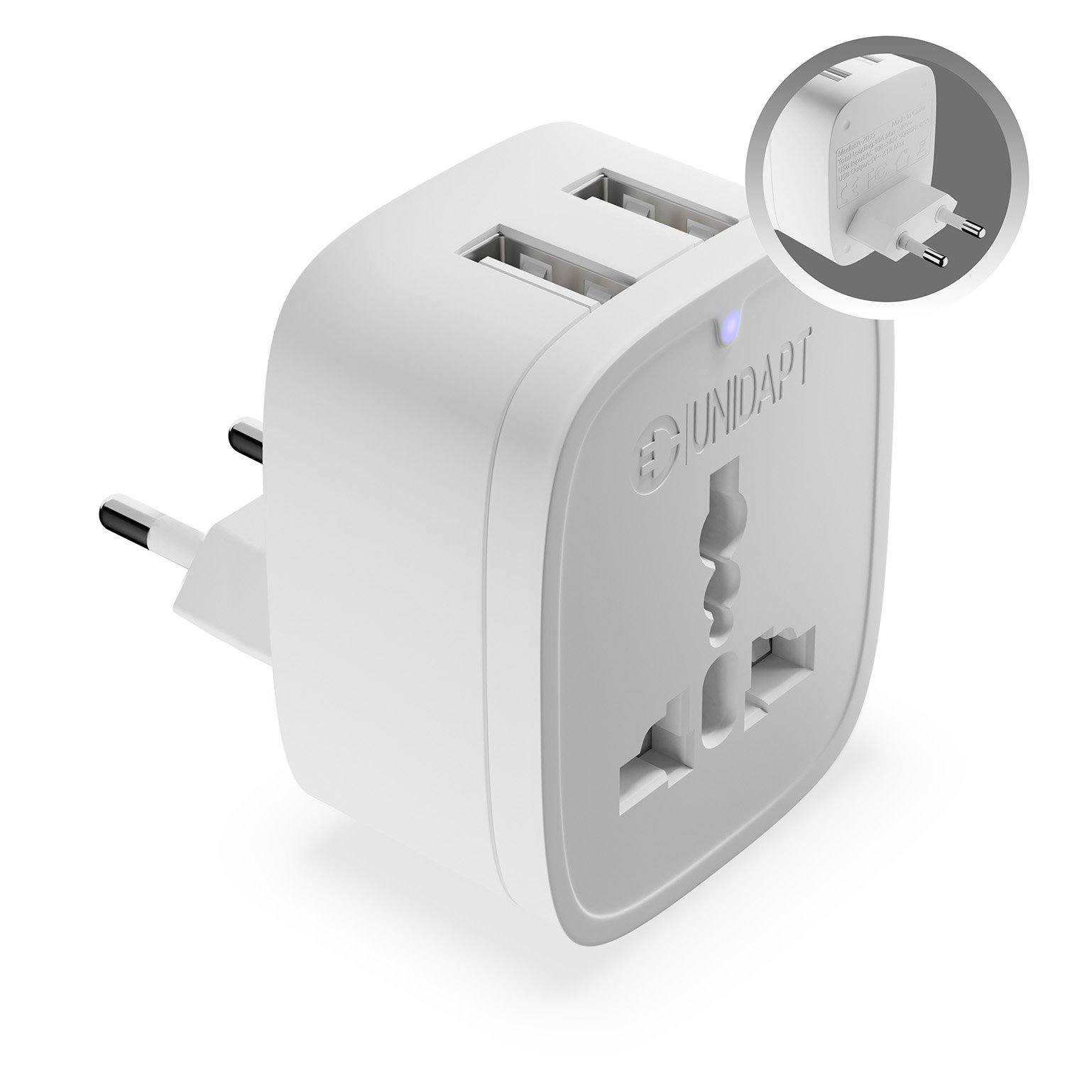 Unidapt European Type C Adapter – World to Europe – 3 in 1 International Power Plug with 2 USB & AC- Universal Input Adapter that works in most of EU, Germany, Spain, Italy (Type C)