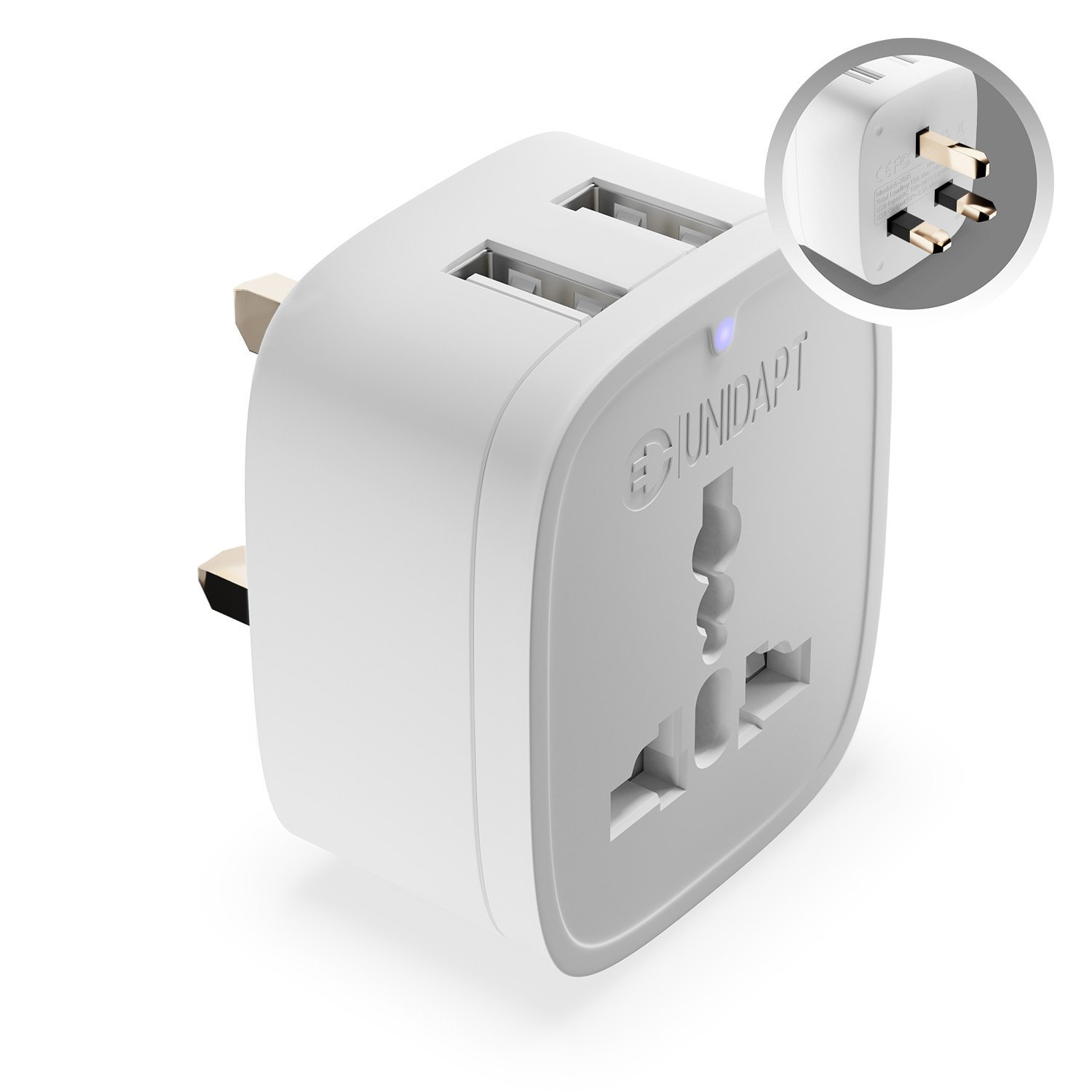 UK Ireland Adapter Plug, Unidapt UK Power Adapter with 2 USB, US to UK Outlet Adapter For Travel Type-G