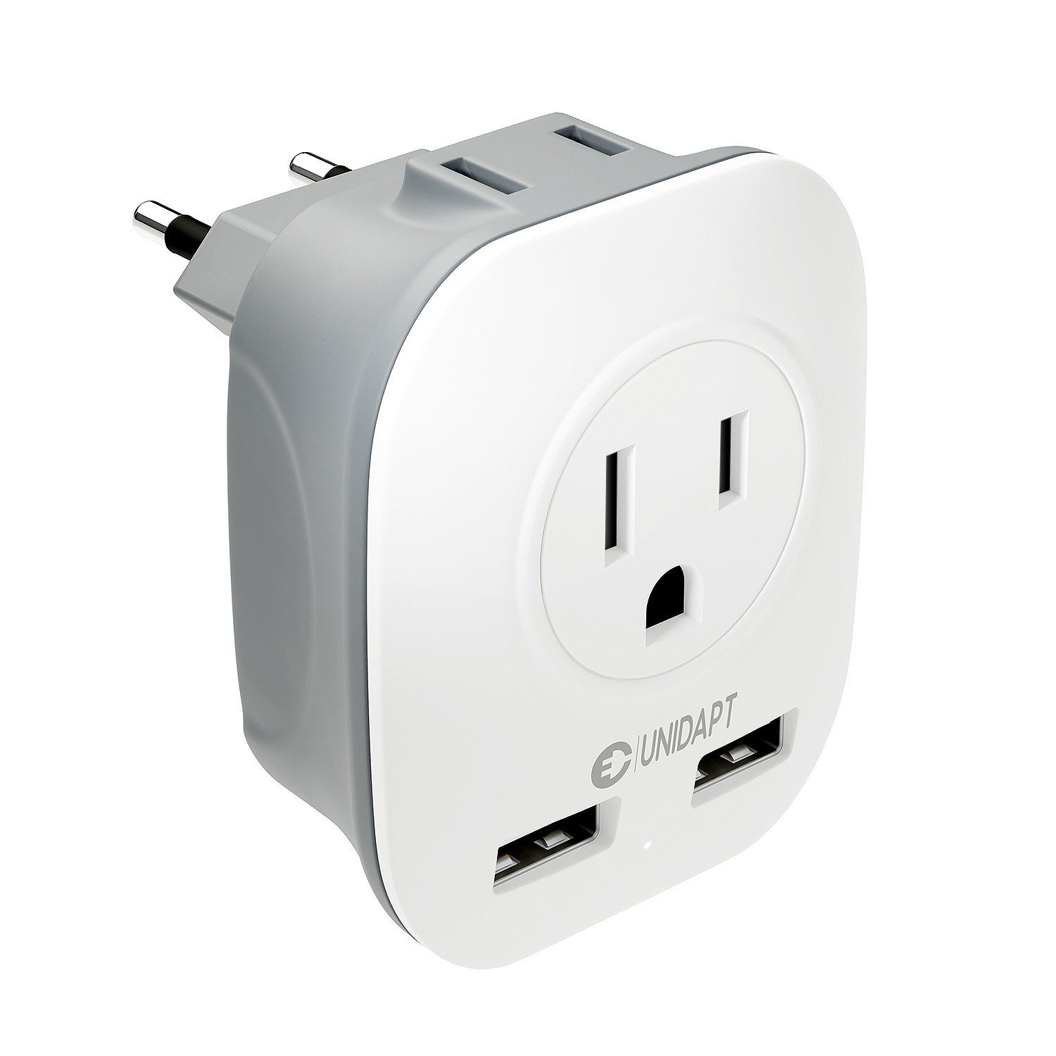 USA to European Plug Adapter Type C – International Travel Power Adaptor US to Europe, Unidapt 4 in 1 AC & USB Outlet Wall Adapter for USA to Most of EU