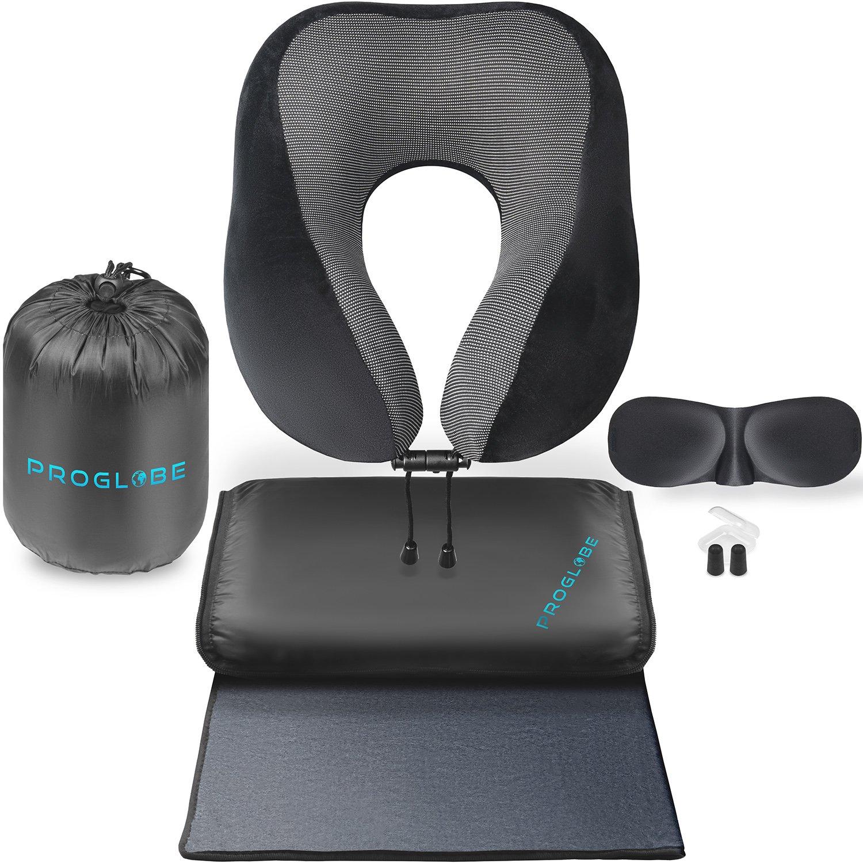 Proglobe Travel Blanket Luxury Travel Set – Ergonomic Airplane Neck Pillow 100% Pure Memory Foam and Super Soft Fleece Blanket – Premium 3D Sleep Mask & Earplugs – Ultimate 4-in-1 Travel Kit Black