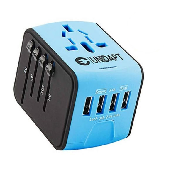 Blue universal travel adapter with 4 USB ports – Cover more than 160 countries worldwide