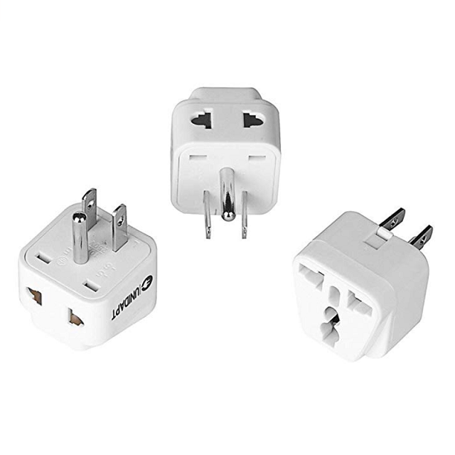 US Plug Adapter for Europe to USA – Power Plug Adapter with Dual Inputs – Safe Grounded and Universal input Socket (Pack of 3)