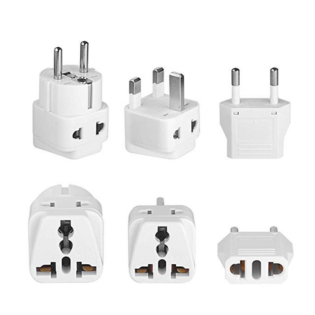 European Plug Adapter Set – For all of Europe Outlet including the UK – 6 pack US to EU handy Plug Adapters